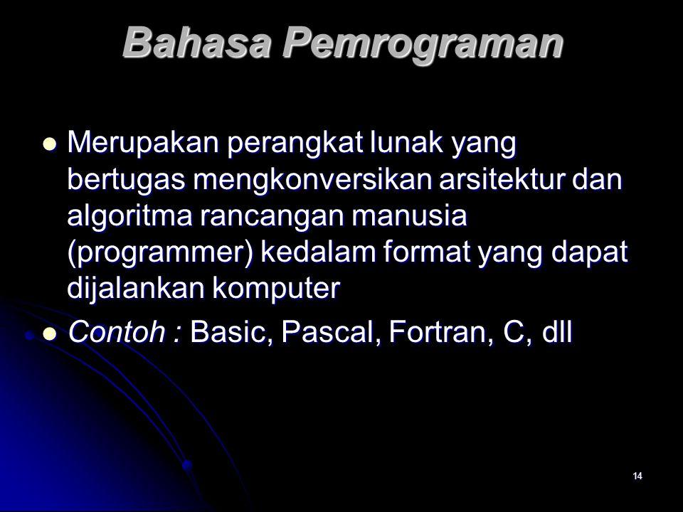 14 Bahasa Pemrograman Merupakan perangkat lunak yang bertugas mengkonversikan arsitektur dan algoritma rancangan manusia (programmer) kedalam format y