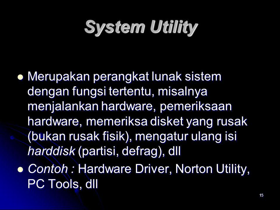 15 System Utility Merupakan perangkat lunak sistem dengan fungsi tertentu, misalnya menjalankan hardware, pemeriksaan hardware, memeriksa disket yang