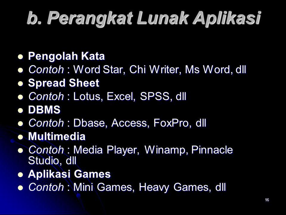 16 b. Perangkat Lunak Aplikasi Pengolah Kata Pengolah Kata Contoh : Word Star, Chi Writer, Ms Word, dll Contoh : Word Star, Chi Writer, Ms Word, dll S