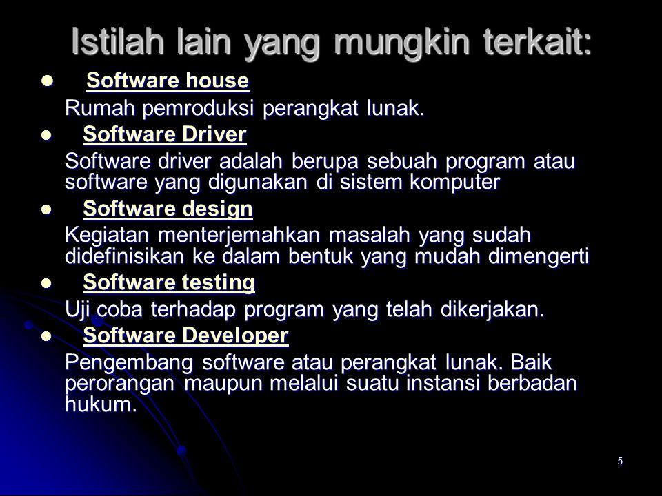 5 Istilah lain yang mungkin terkait: Software house Software house Software house Software house Rumah pemroduksi perangkat lunak. Software Driver Sof
