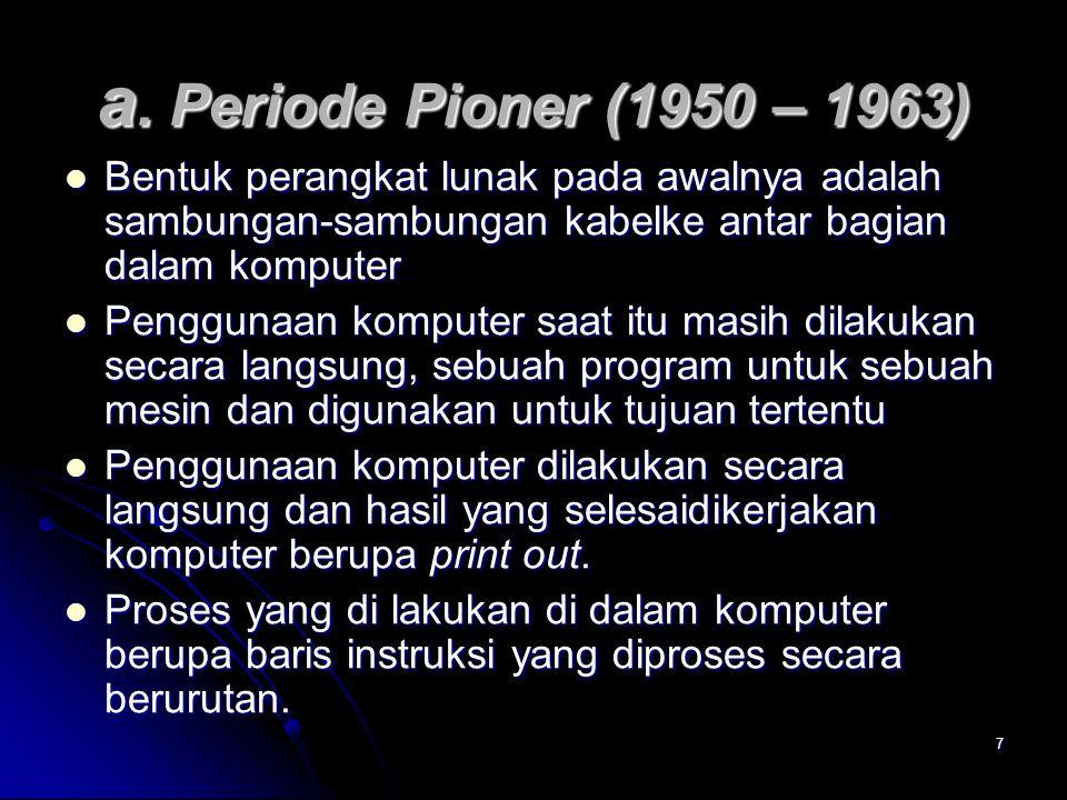 7 a. Periode Pioner (1950 – 1963) Bentuk perangkat lunak pada awalnya adalah sambungan-sambungan kabelke antar bagian dalam komputer Bentuk perangkat