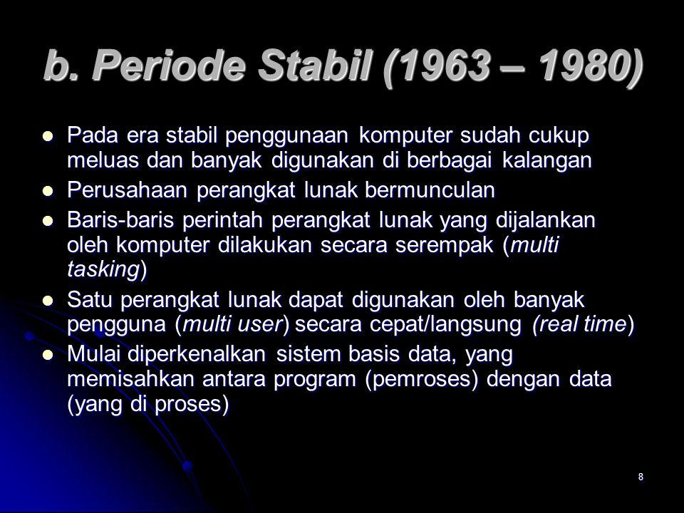 8 b. Periode Stabil (1963 – 1980) Pada era stabil penggunaan komputer sudah cukup meluas dan banyak digunakan di berbagai kalangan Pada era stabil pen