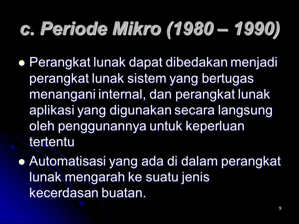 9 c. Periode Mikro (1980 – 1990) Perangkat lunak dapat dibedakan menjadi perangkat lunak sistem yang bertugas menangani internal, dan perangkat lunak