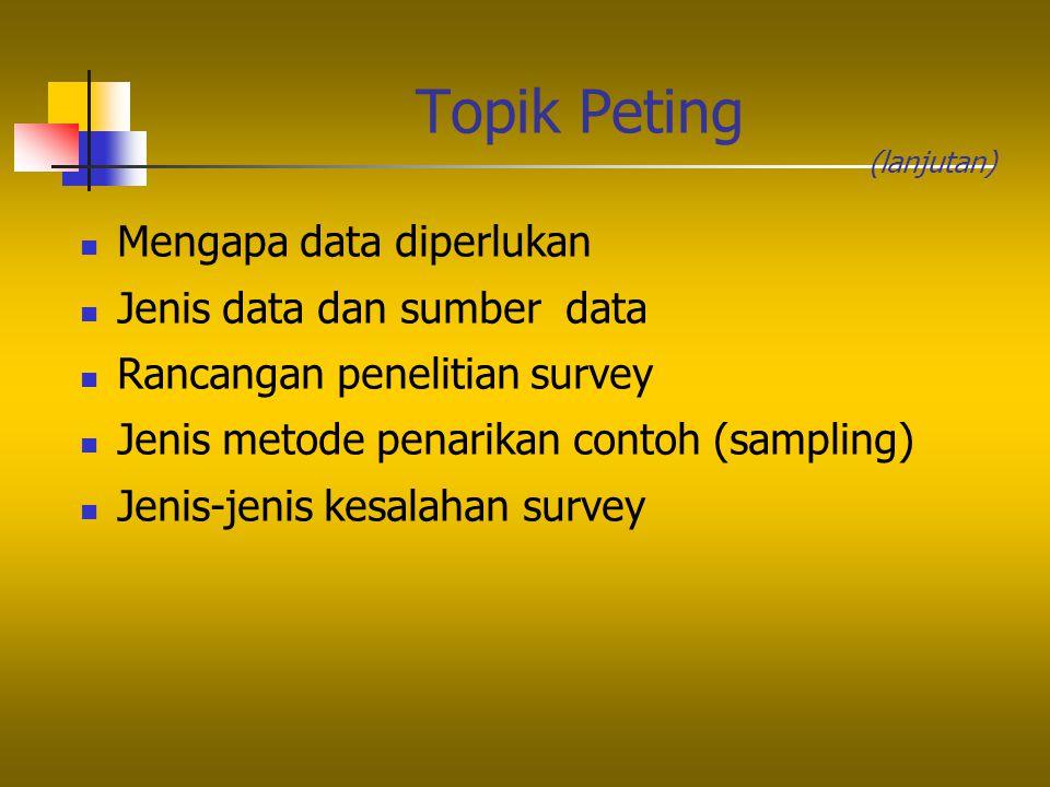 Topik Peting Mengapa data diperlukan Jenis data dan sumber data Rancangan penelitian survey Jenis metode penarikan contoh (sampling) Jenis-jenis kesal