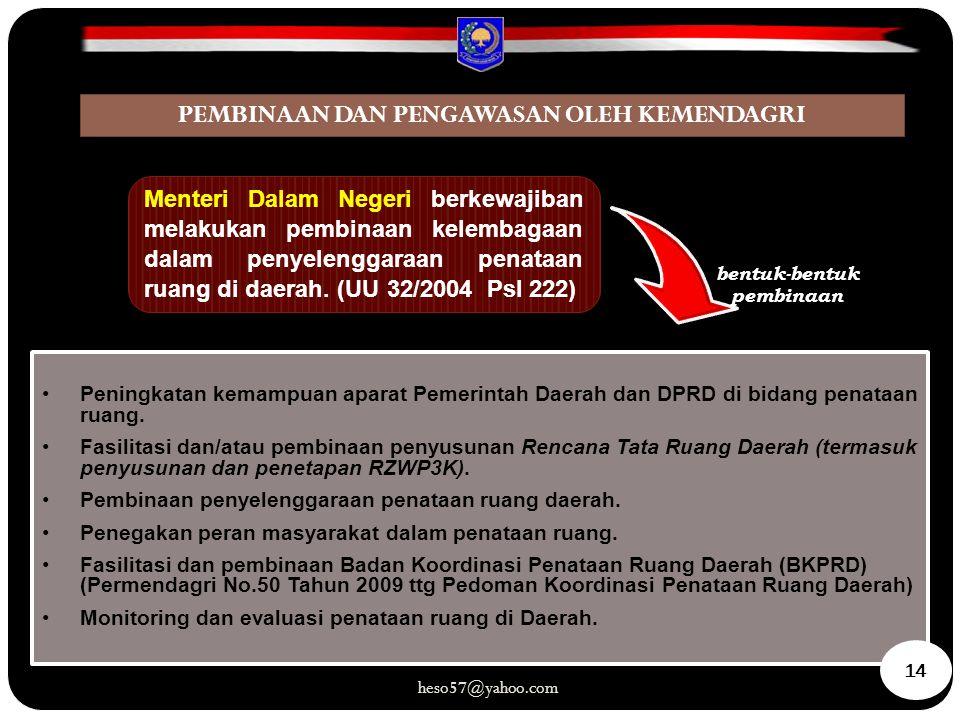 Menteri Dalam Negeri berkewajiban melakukan pembinaan kelembagaan dalam penyelenggaraan penataan ruang di daerah. (UU 32/2004 Psl 222) bentuk-bentuk p