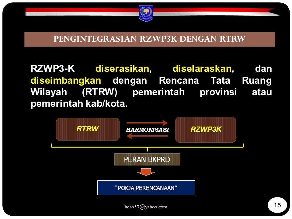 RTRW RZWP3K HARMONISASI PERAN BKPRD RZWP3-K diserasikan, diselaraskan, dan diseimbangkan dengan Rencana Tata Ruang Wilayah (RTRW) pemerintah provinsi atau pemerintah kab/kota.