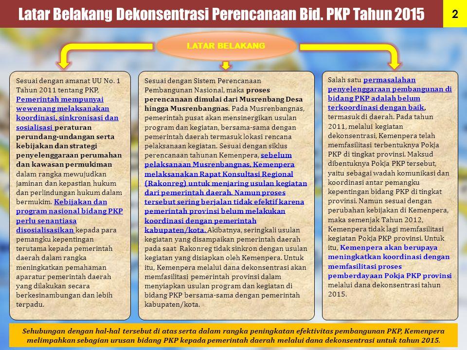 Latar Belakang Dekonsentrasi Perencanaan Bid. PKP Tahun 2015 Sesuai dengan amanat UU No. 1 Tahun 2011 tentang PKP, Pemerintah mempunyai wewenang melak