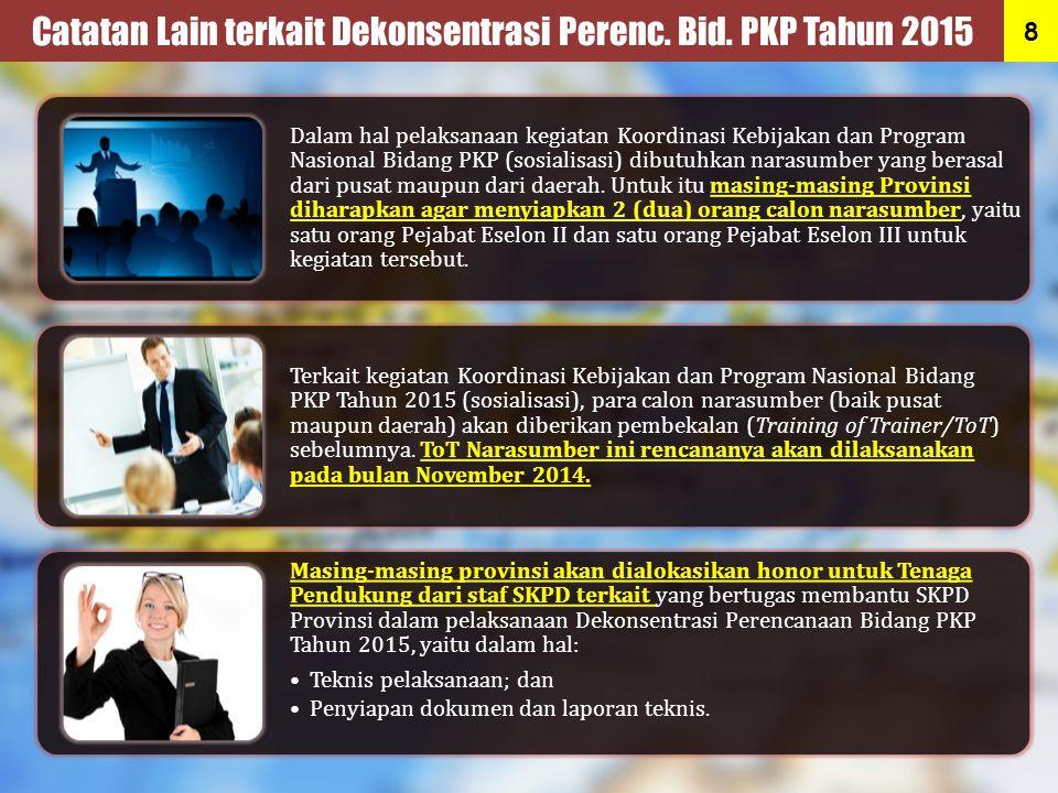 Dalam hal pelaksanaan kegiatan Koordinasi Kebijakan dan Program Nasional Bidang PKP (sosialisasi) dibutuhkan narasumber yang berasal dari pusat maupun