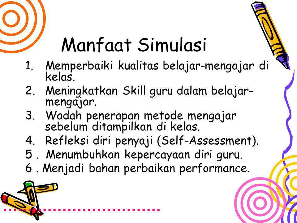 Manfaat Simulasi 1.Memperbaiki kualitas belajar-mengajar di kelas. 2.Meningkatkan Skill guru dalam belajar- mengajar. 3.Wadah penerapan metode mengaja