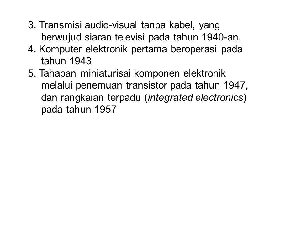 3. Transmisi audio-visual tanpa kabel, yang berwujud siaran televisi pada tahun 1940-an.