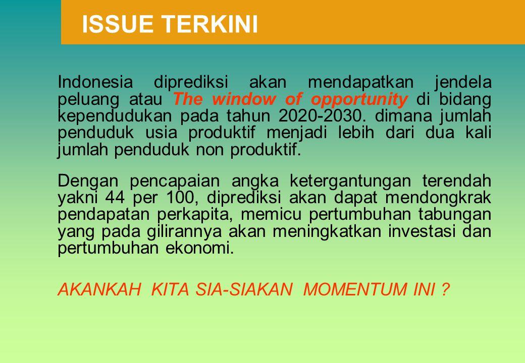 Indonesia diprediksi akan mendapatkan jendela peluang atau The window of opportunity di bidang kependudukan pada tahun 2020-2030. dimana jumlah pendud