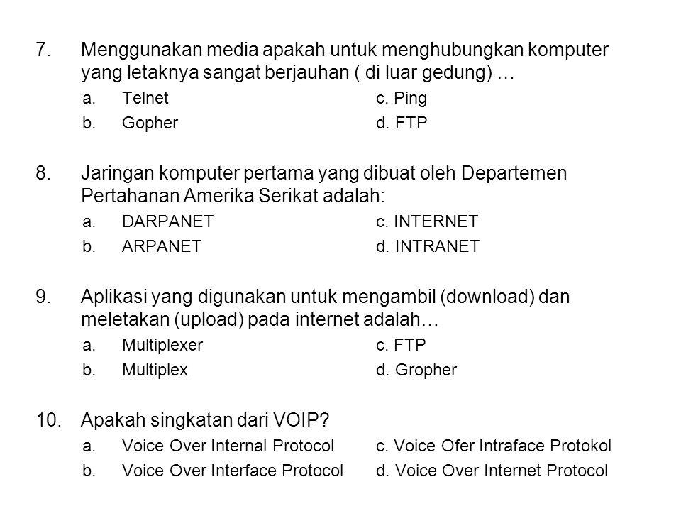 11.Suatu komputer memiliki alamat yang disimbolkan sebagai a.Internet Protocolc.