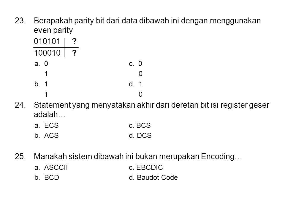 23.Berapakah parity bit dari data dibawah ini dengan menggunakan even parity 010101.
