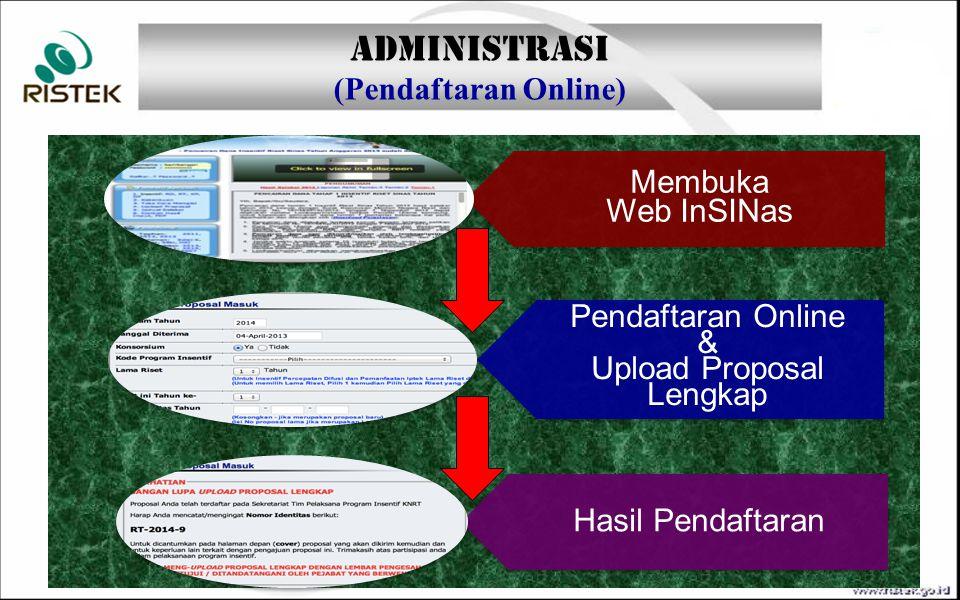 Membuka Web InSINas Pendaftaran Online & Upload Proposal Lengkap Hasil Pendaftaran ADMINISTRASI (Pendaftaran Online)