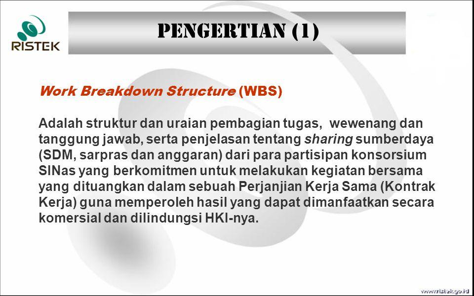 PENGERTIAN (1) Work Breakdown Structure (WBS) Adalah struktur dan uraian pembagian tugas, wewenang dan tanggung jawab, serta penjelasan tentang sharin