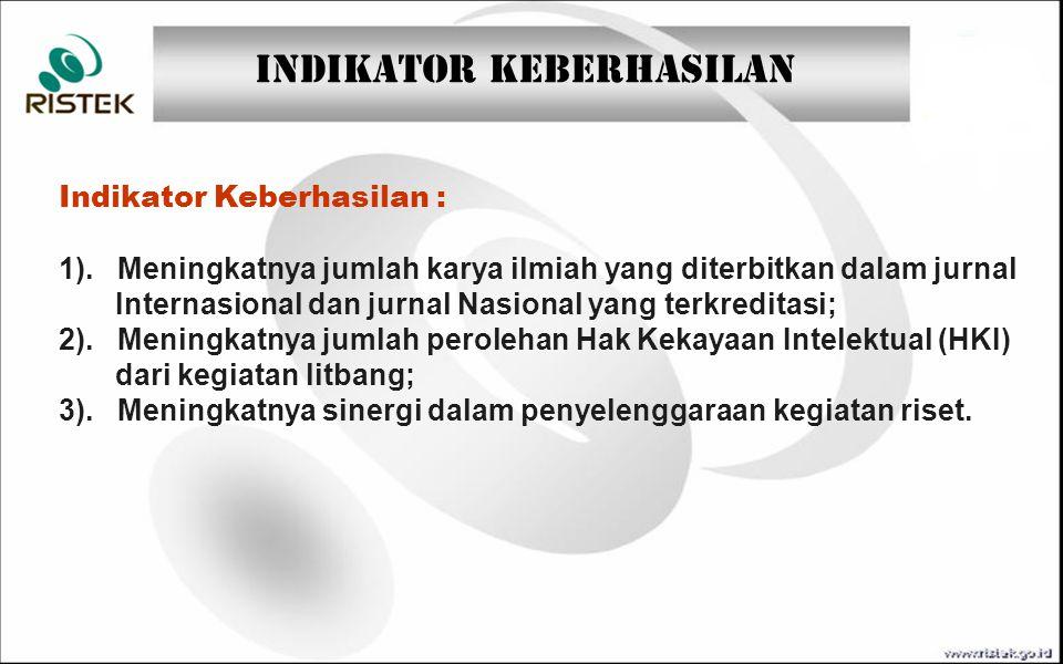 Indikator Keberhasilan : 1). Meningkatnya jumlah karya ilmiah yang diterbitkan dalam jurnal Internasional dan jurnal Nasional yang terkreditasi; 2). M
