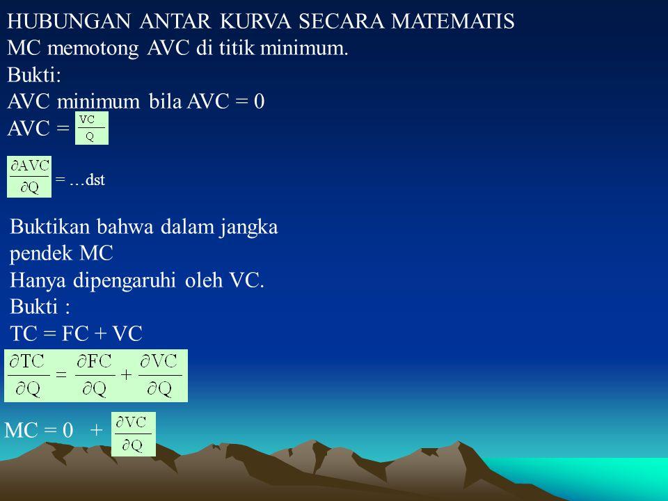 HUBUNGAN ANTAR KURVA SECARA MATEMATIS MC memotong AVC di titik minimum. Bukti: AVC minimum bila AVC = 0 AVC = MC = 0 + = …dst Buktikan bahwa dalam jan