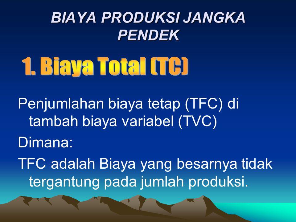BIAYA PRODUKSI JANGKA PENDEK Penjumlahan biaya tetap (TFC) di tambah biaya variabel (TVC) Dimana: TFC adalah Biaya yang besarnya tidak tergantung pada jumlah produksi.