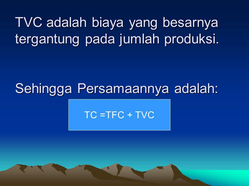 TVC adalah biaya yang besarnya tergantung pada jumlah produksi. Sehingga Persamaannya adalah: TVC adalah biaya yang besarnya tergantung pada jumlah pr