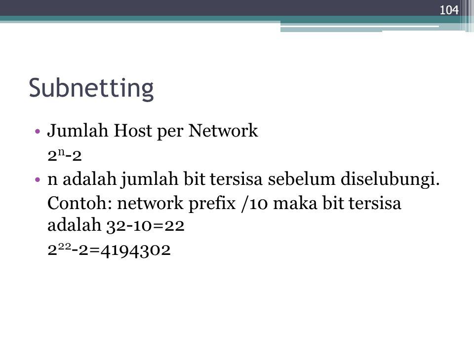 Subnetting Jumlah Host per Network 2 n -2 n adalah jumlah bit tersisa sebelum diselubungi. Contoh: network prefix /10 maka bit tersisa adalah 32-10=22