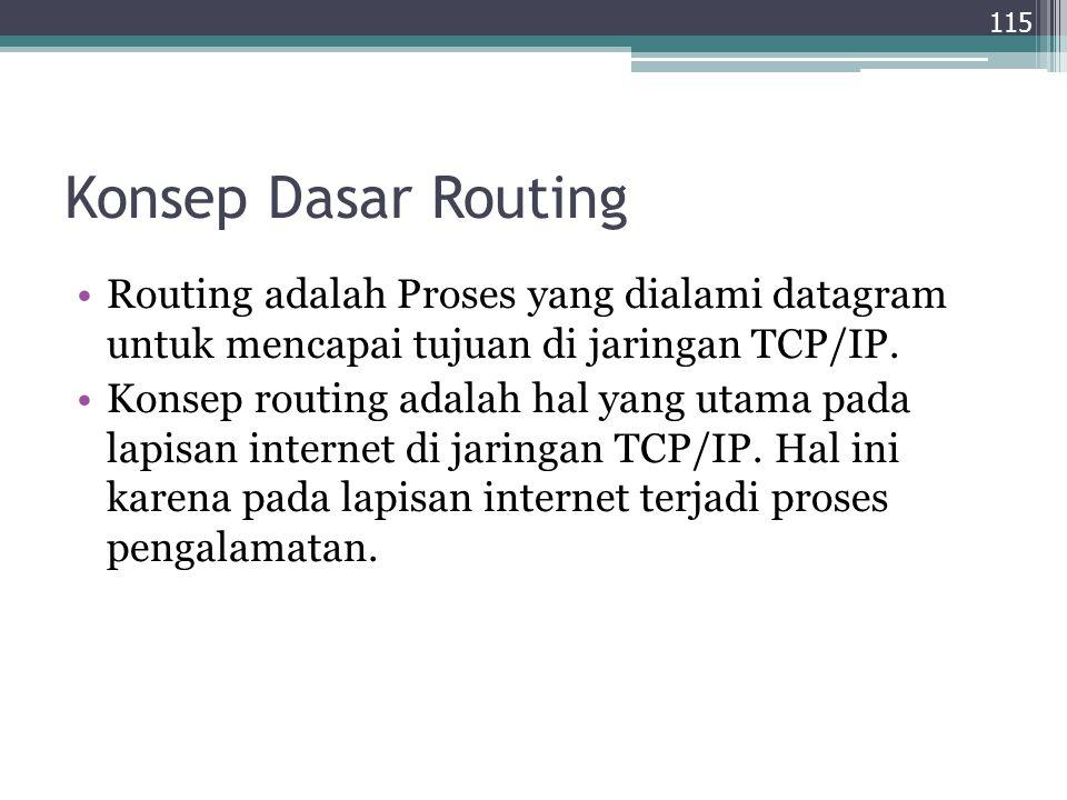 Konsep Dasar Routing Routing adalah Proses yang dialami datagram untuk mencapai tujuan di jaringan TCP/IP. Konsep routing adalah hal yang utama pada l