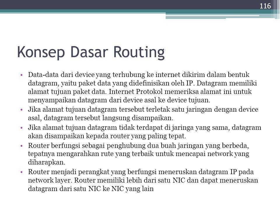 Konsep Dasar Routing Data-data dari device yang terhubung ke internet dikirim dalam bentuk datagram, yaitu paket data yang didefinisikan oleh IP. Data