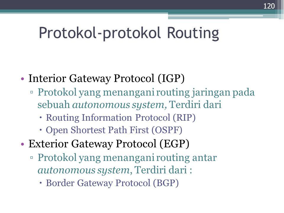Protokol-protokol Routing Interior Gateway Protocol (IGP) ▫Protokol yang menangani routing jaringan pada sebuah autonomous system, Terdiri dari  Rout