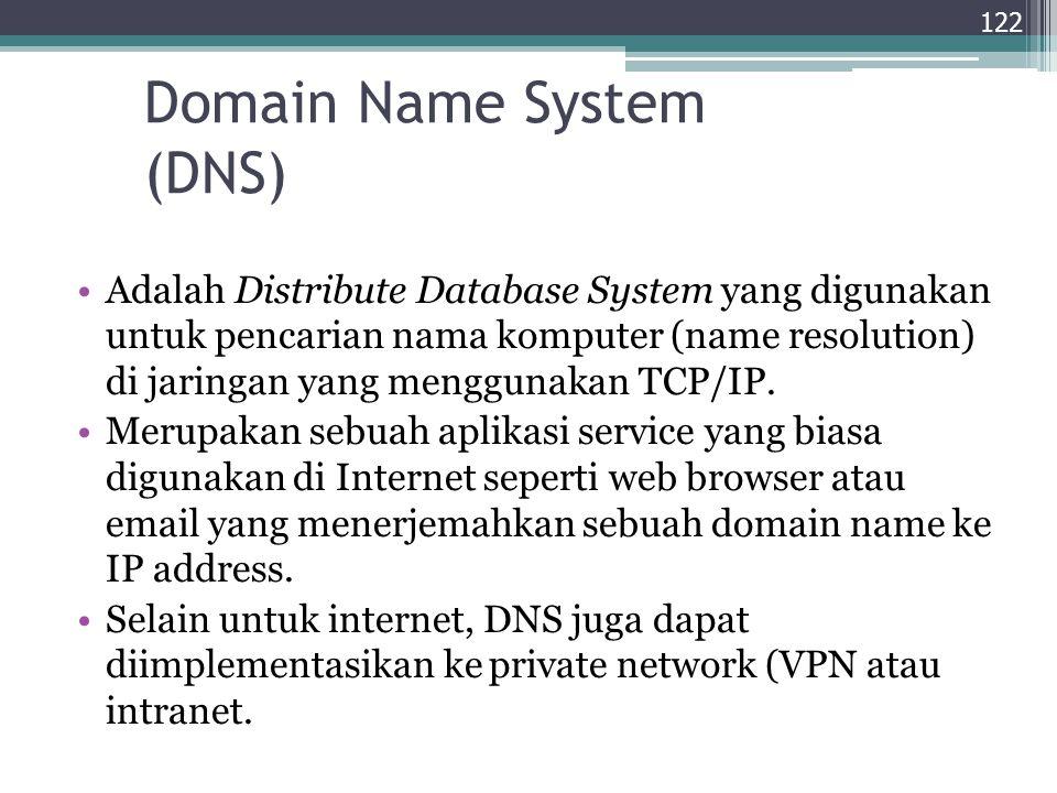 Domain Name System (DNS) Adalah Distribute Database System yang digunakan untuk pencarian nama komputer (name resolution) di jaringan yang menggunakan