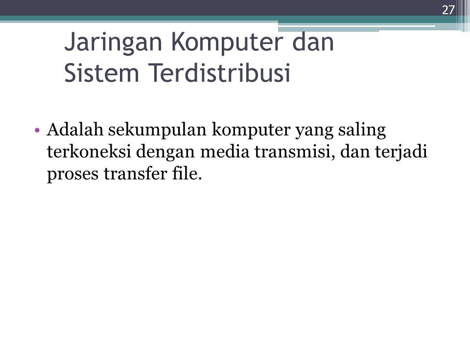 Jaringan Komputer dan Sistem Terdistribusi Adalah sekumpulan komputer yang saling terkoneksi dengan media transmisi, dan terjadi proses transfer file.