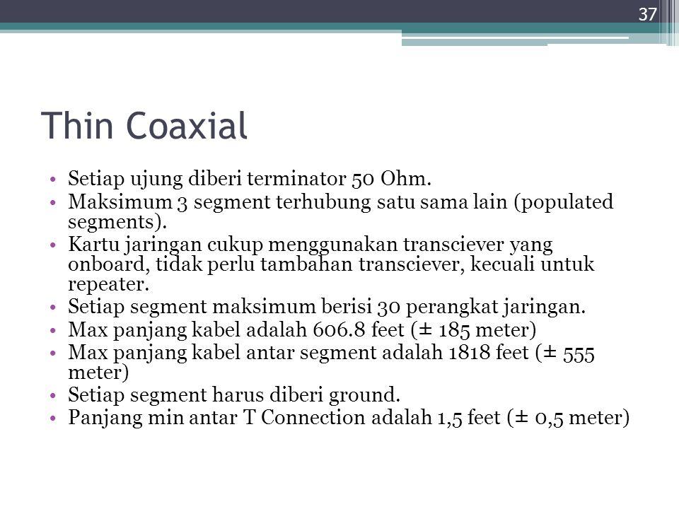 Thin Coaxial Setiap ujung diberi terminator 50 Ohm. Maksimum 3 segment terhubung satu sama lain (populated segments). Kartu jaringan cukup menggunakan