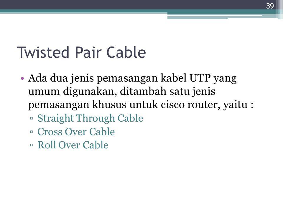 Twisted Pair Cable Ada dua jenis pemasangan kabel UTP yang umum digunakan, ditambah satu jenis pemasangan khusus untuk cisco router, yaitu : ▫Straight