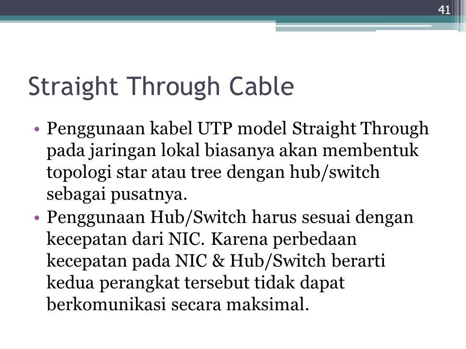Straight Through Cable Penggunaan kabel UTP model Straight Through pada jaringan lokal biasanya akan membentuk topologi star atau tree dengan hub/swit