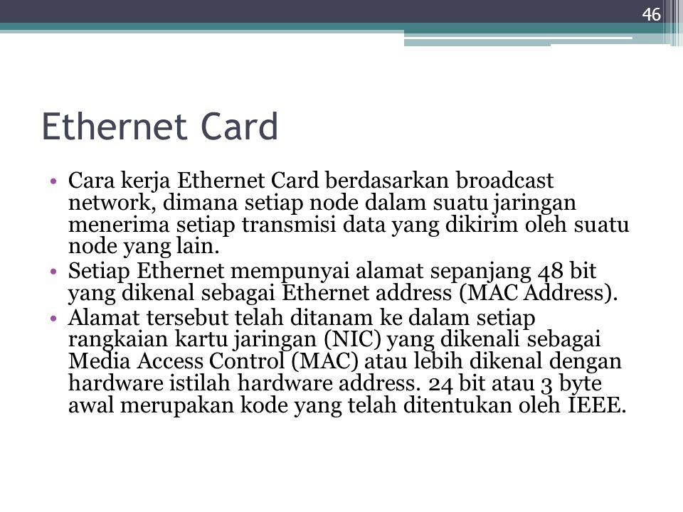 Ethernet Card Cara kerja Ethernet Card berdasarkan broadcast network, dimana setiap node dalam suatu jaringan menerima setiap transmisi data yang diki