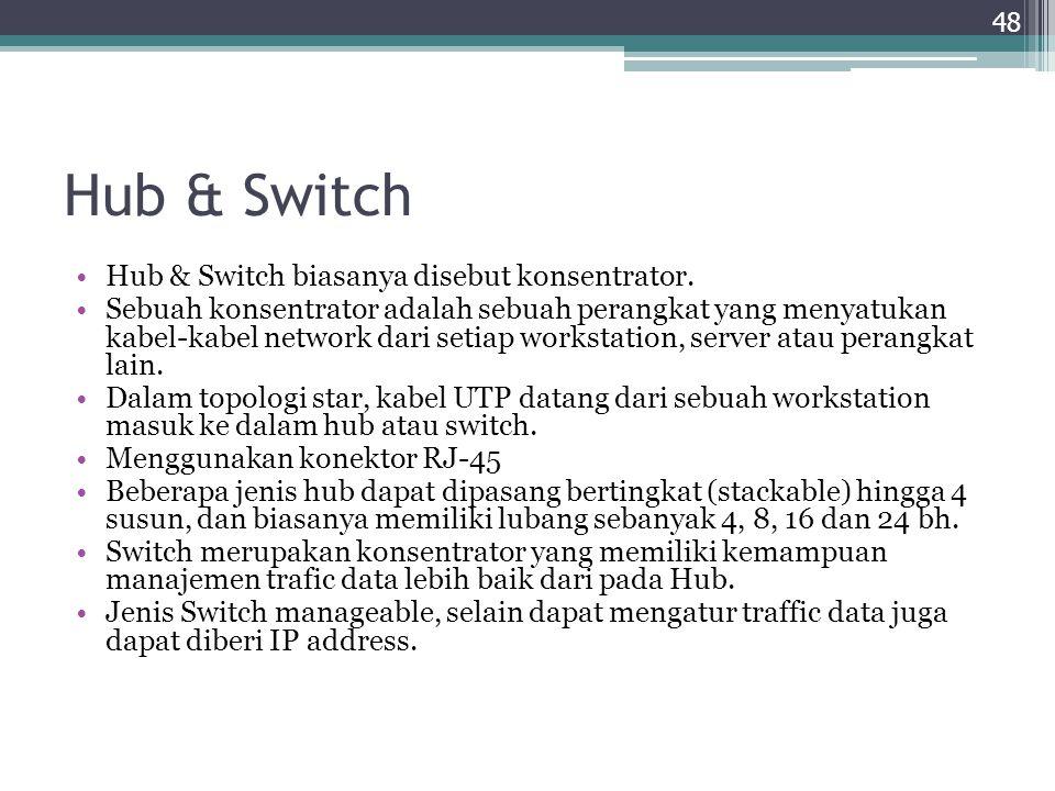 Hub & Switch Hub & Switch biasanya disebut konsentrator. Sebuah konsentrator adalah sebuah perangkat yang menyatukan kabel-kabel network dari setiap w