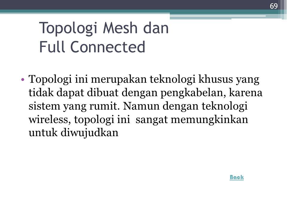 Topologi Mesh dan Full Connected Topologi ini merupakan teknologi khusus yang tidak dapat dibuat dengan pengkabelan, karena sistem yang rumit. Namun d