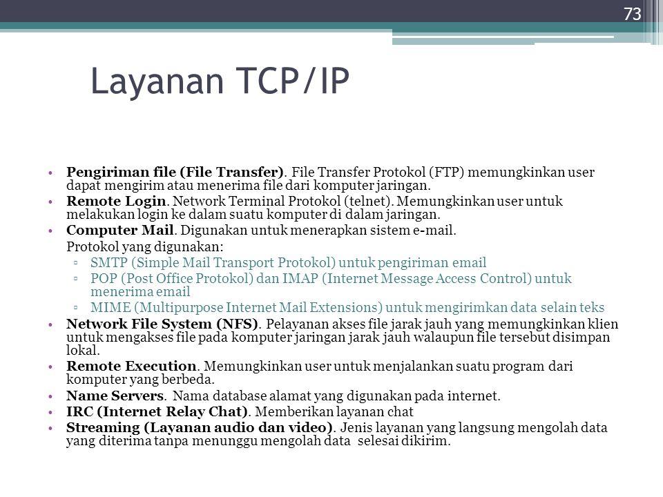 Layanan TCP/IP Pengiriman file (File Transfer). File Transfer Protokol (FTP) memungkinkan user dapat mengirim atau menerima file dari komputer jaringa