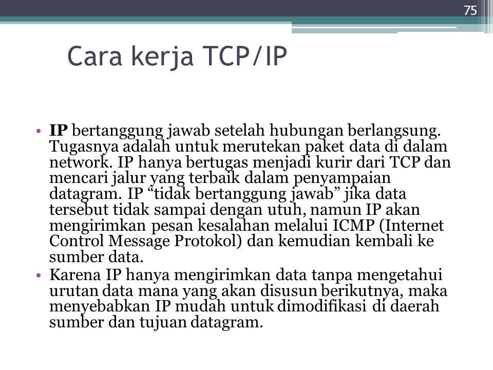 Cara kerja TCP/IP IP bertanggung jawab setelah hubungan berlangsung. Tugasnya adalah untuk merutekan paket data di dalam network. IP hanya bertugas me