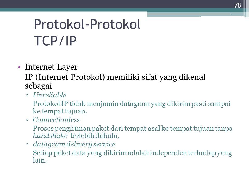 Protokol-Protokol TCP/IP Internet Layer IP (Internet Protokol) memiliki sifat yang dikenal sebagai ▫Unreliable Protokol IP tidak menjamin datagram yan