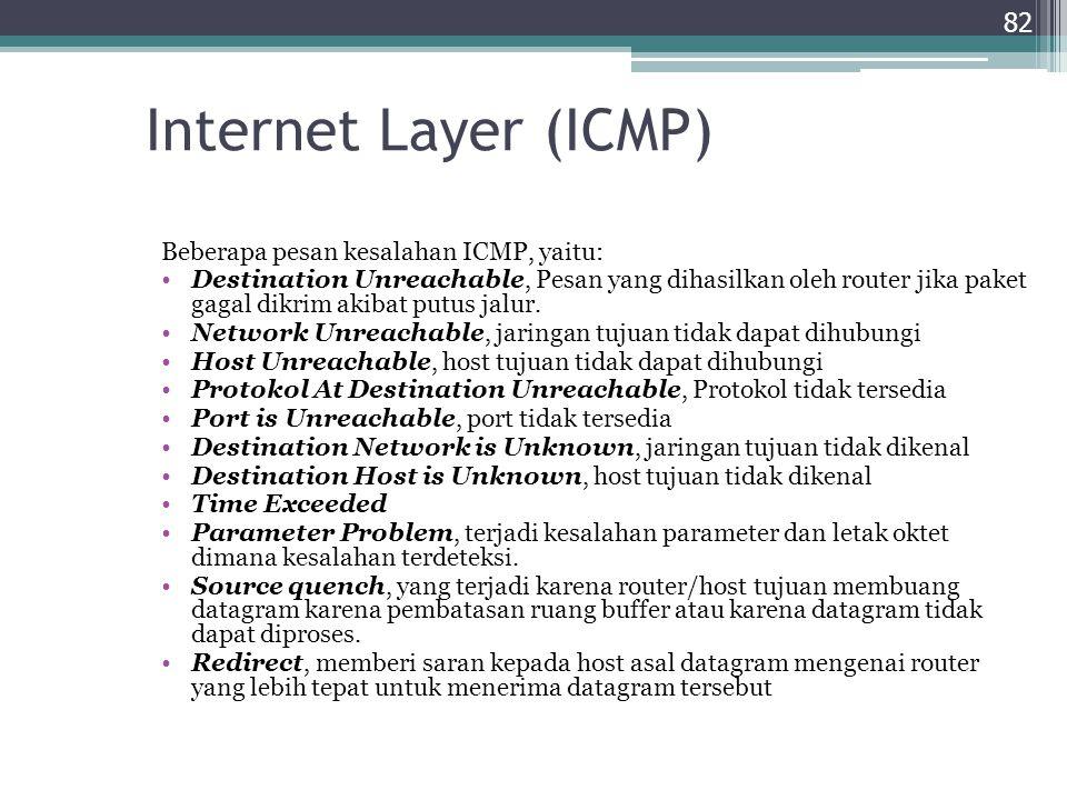 Internet Layer (ICMP) Beberapa pesan kesalahan ICMP, yaitu: Destination Unreachable, Pesan yang dihasilkan oleh router jika paket gagal dikrim akibat