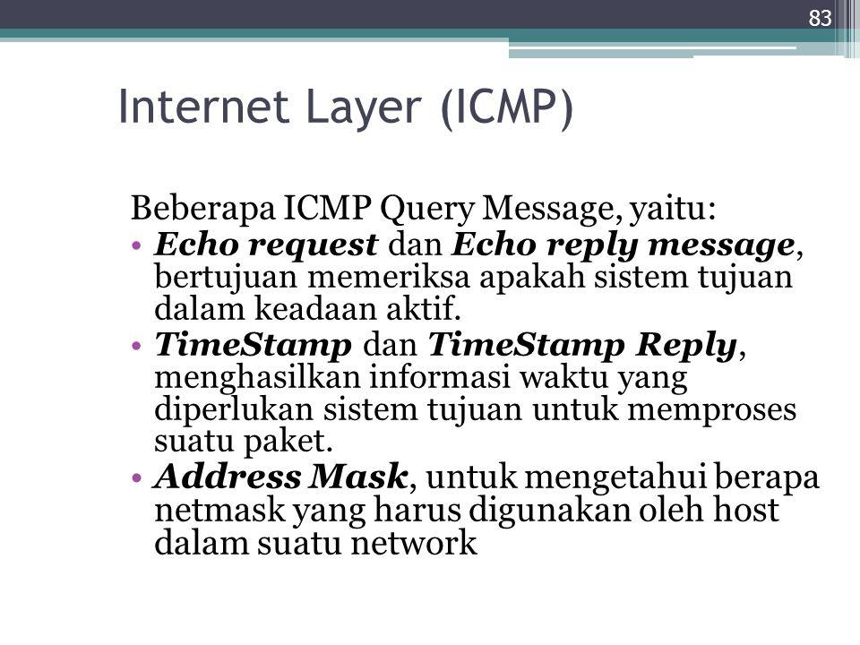 Internet Layer (ICMP) Beberapa ICMP Query Message, yaitu: Echo request dan Echo reply message, bertujuan memeriksa apakah sistem tujuan dalam keadaan