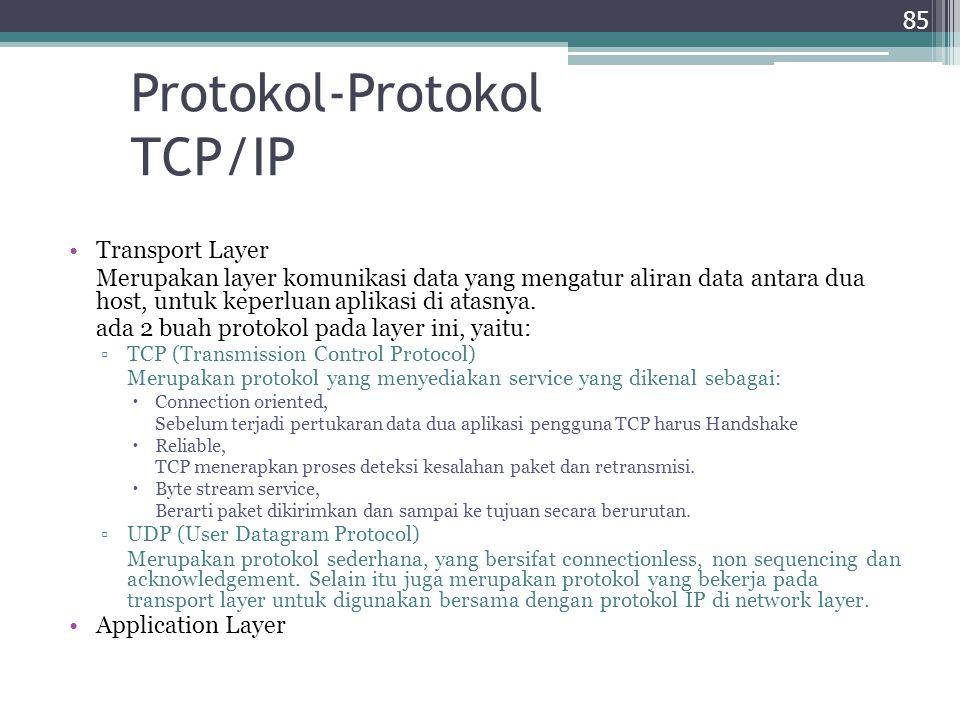 Protokol-Protokol TCP/IP Transport Layer Merupakan layer komunikasi data yang mengatur aliran data antara dua host, untuk keperluan aplikasi di atasny
