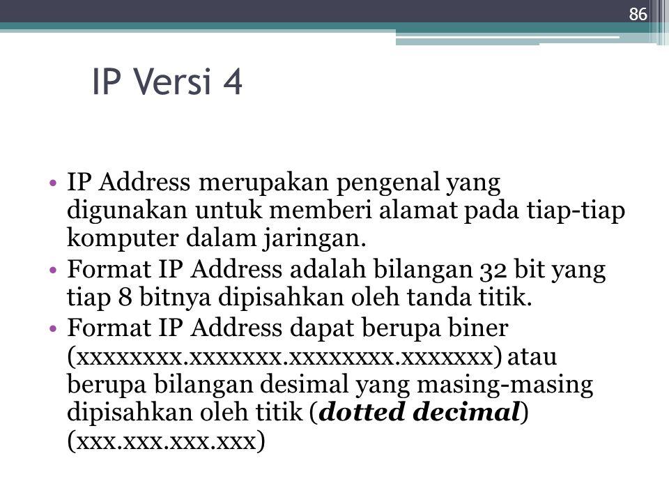 IP Versi 4 IP Address merupakan pengenal yang digunakan untuk memberi alamat pada tiap-tiap komputer dalam jaringan. Format IP Address adalah bilangan