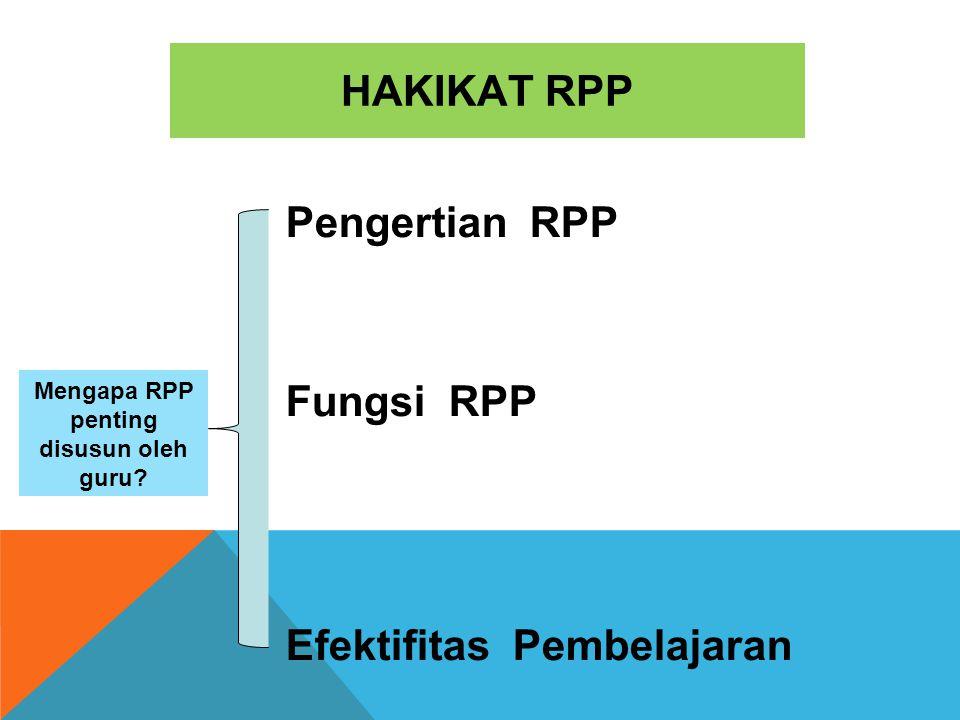 HAKIKAT RPP Mengapa RPP penting disusun oleh guru? Pengertian RPP Fungsi RPP Efektifitas Pembelajaran