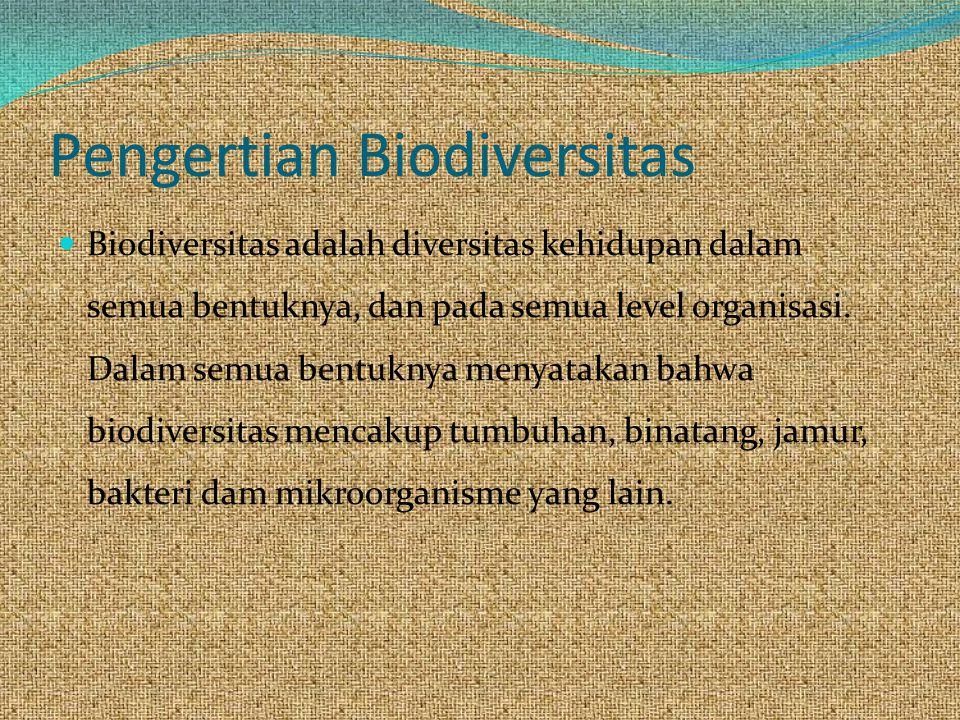 Pengertian Biodiversitas Biodiversitas adalah diversitas kehidupan dalam semua bentuknya, dan pada semua level organisasi.