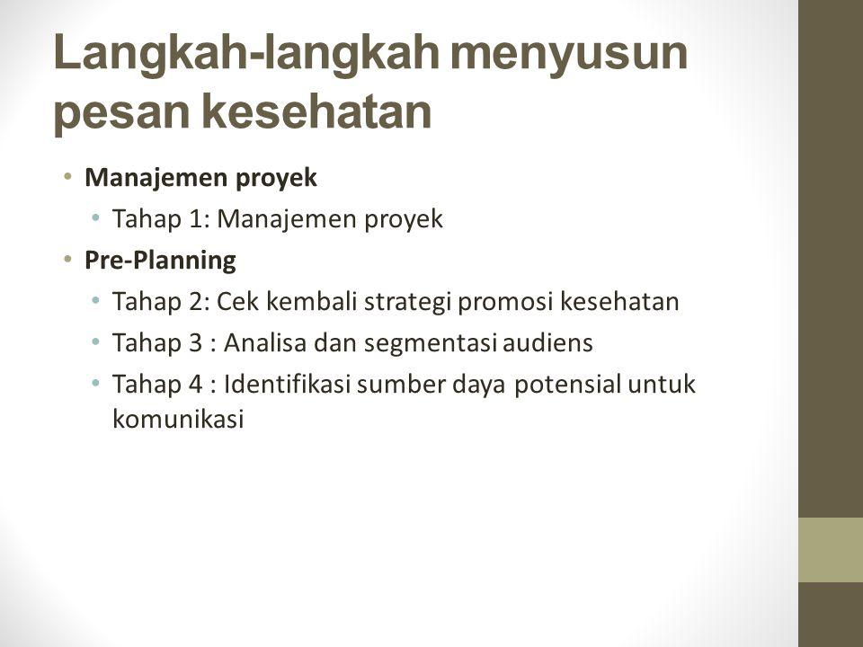 Langkah-langkah menyusun pesan kesehatan Manajemen proyek Tahap 1: Manajemen proyek Pre-Planning Tahap 2: Cek kembali strategi promosi kesehatan Tahap