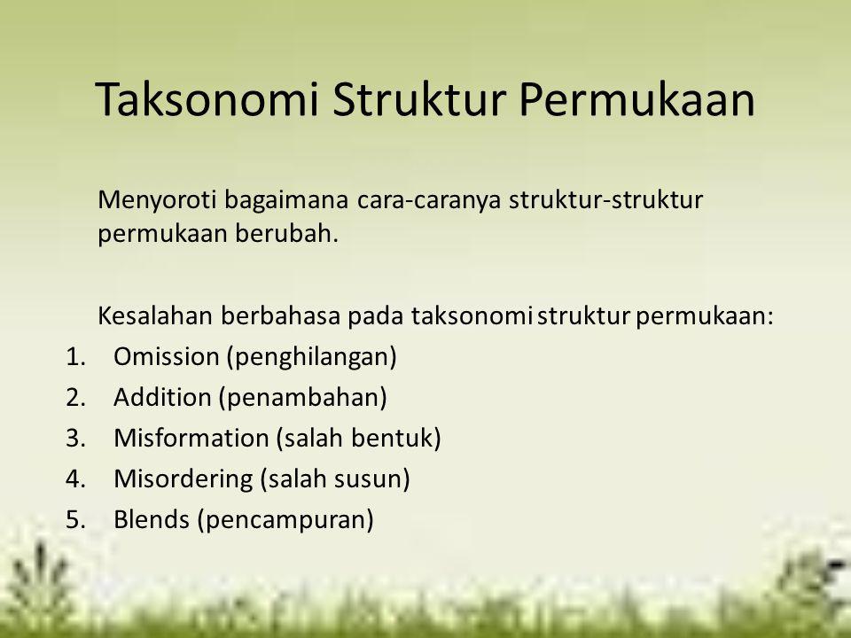 Taksonomi Struktur Permukaan Menyoroti bagaimana cara-caranya struktur-struktur permukaan berubah. Kesalahan berbahasa pada taksonomi struktur permuka