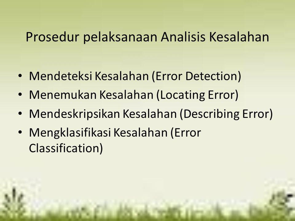Mendeteksi Kesalahan (Error Detection) Mengumpulkan hasil kerja siswa kemudian meminta 'saksi' atau knower untuk memilih tugas siswa yang dirasa memiliki kesalahan.