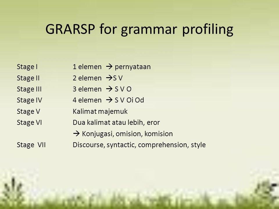 GRARSP for grammar profiling Stage I1 elemen  pernyataan Stage II2 elemen  S V Stage III3 elemen  S V O Stage IV4 elemen  S V Oi Od Stage VKalimat