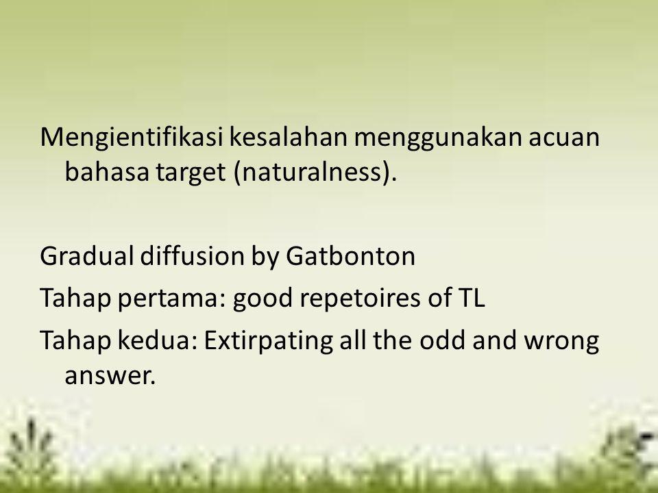 Mengientifikasi kesalahan menggunakan acuan bahasa target (naturalness). Gradual diffusion by Gatbonton Tahap pertama: good repetoires of TL Tahap ked