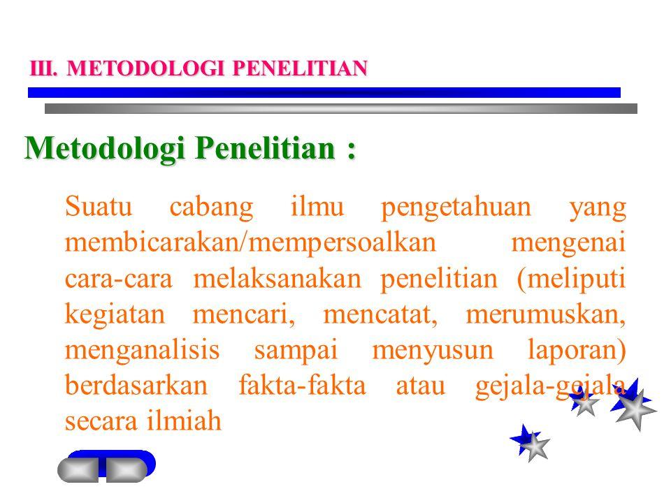 Metodologi Penelitian : Suatu cabang ilmu pengetahuan yang membicarakan/mempersoalkan mengenai cara-cara melaksanakan penelitian (meliputi kegiatan me